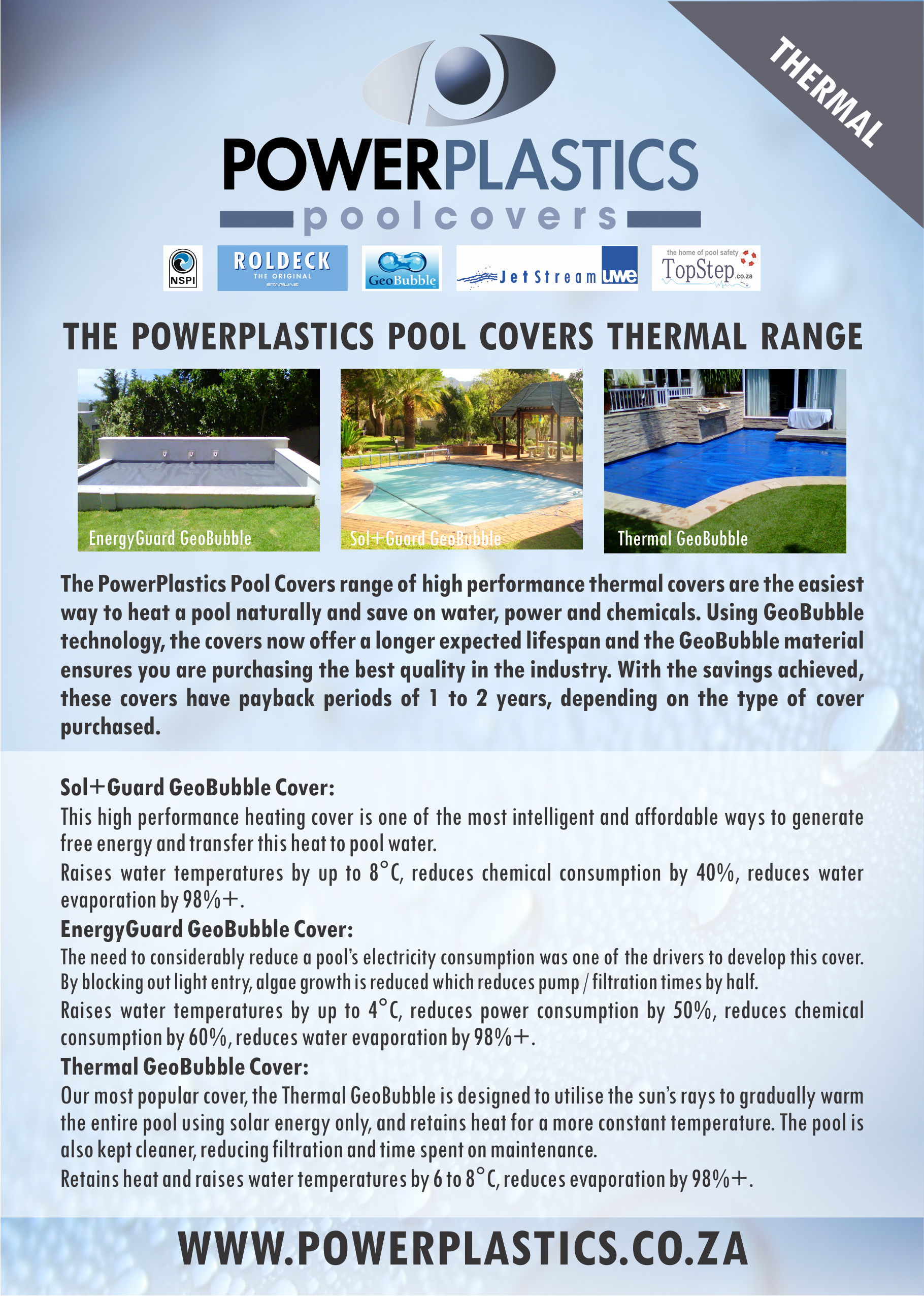 PowerPlsatics Pool Covers A5 Thermal brochure